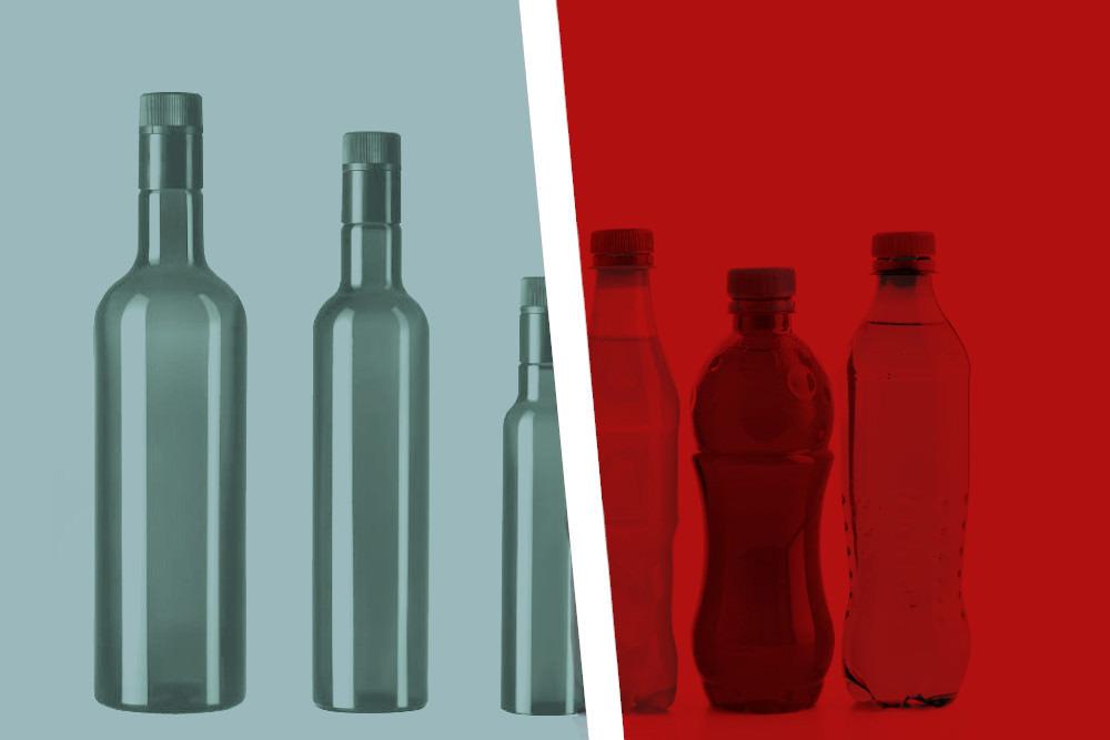 Vetro vs Plastica - Arpaia vendita Bottiglie e vasi in vetro